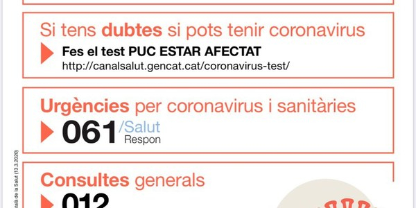 INFORMACIÓ COVID-19 GENERALITAT DE CATALUNYA