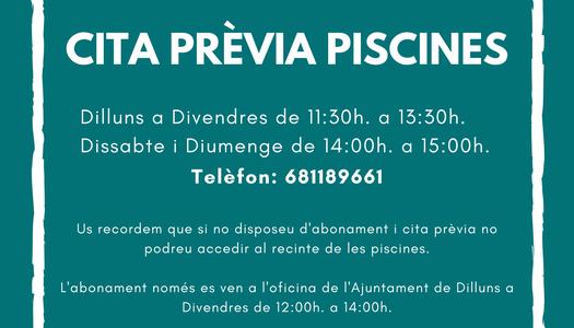 Nou horari cita prèvia piscines Cervià de les Garrigues