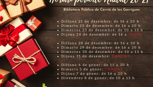 Horaris període Nadal 20-21